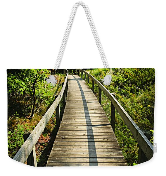 Wooden Walkway Through Forest Weekender Tote Bag