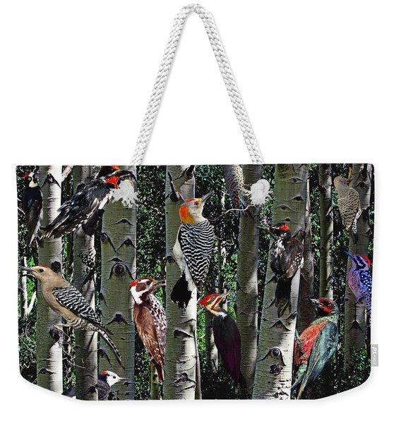 Woodpecker Collage Weekender Tote Bag