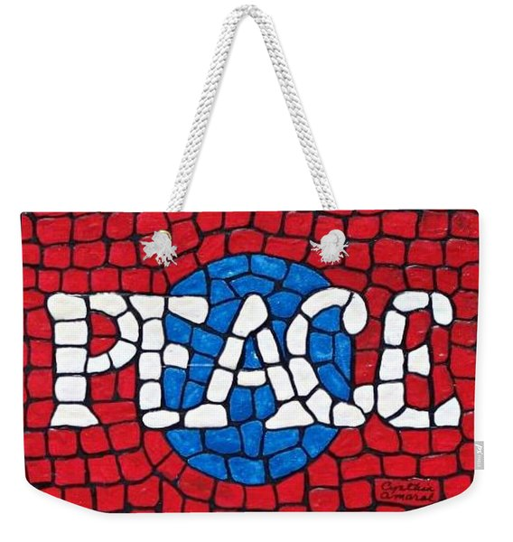 Weekender Tote Bag featuring the painting World Peace by Cynthia Amaral