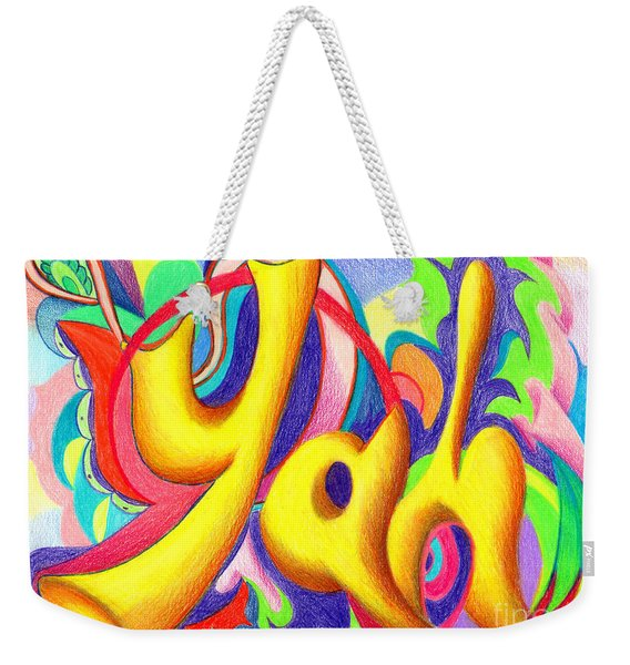 Weekender Tote Bag featuring the painting YAH by Nancy Cupp