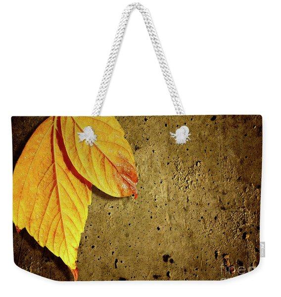 Yellow Fall Leafs Weekender Tote Bag