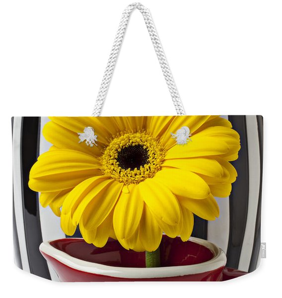 Yellow Mum In Pitcher  Weekender Tote Bag
