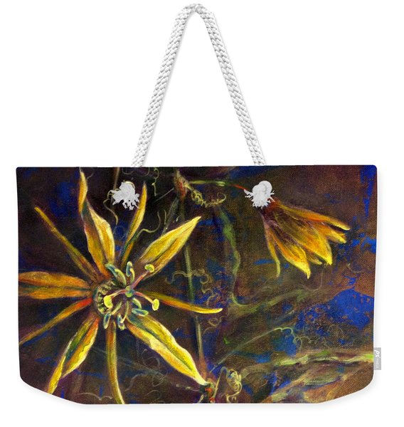 Weekender Tote Bag featuring the painting Yellow Passion by Ashley Kujan