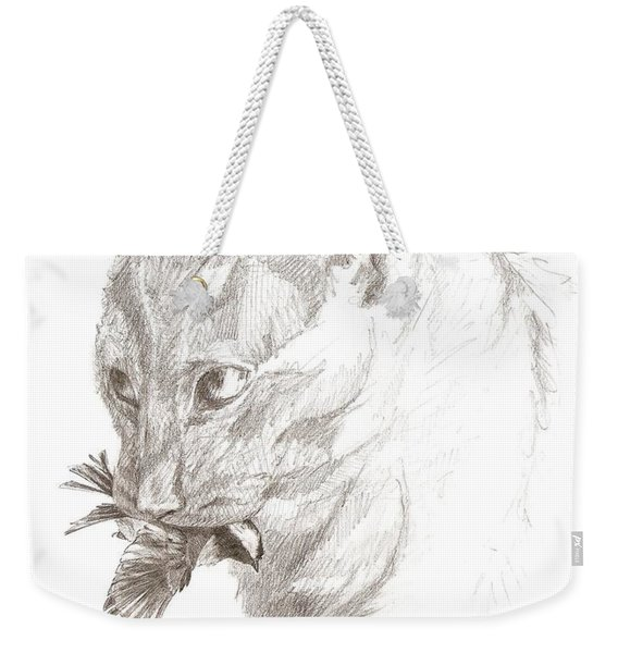 Cat And Chickadee Weekender Tote Bag