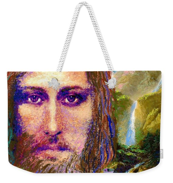 Contemporary Jesus Painting, Chalice Of Life Weekender Tote Bag
