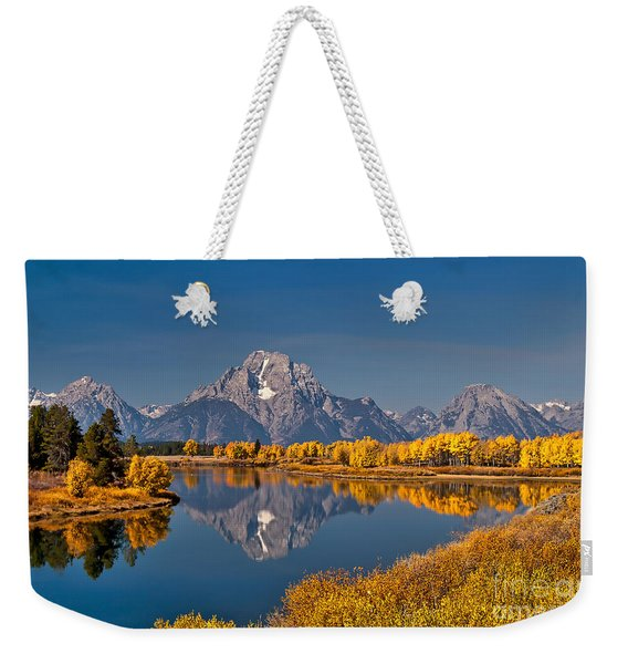 Weekender Tote Bag featuring the photograph  Fall Colors At Oxbow Bend In Grand Teton National Park by Sam Antonio Photography