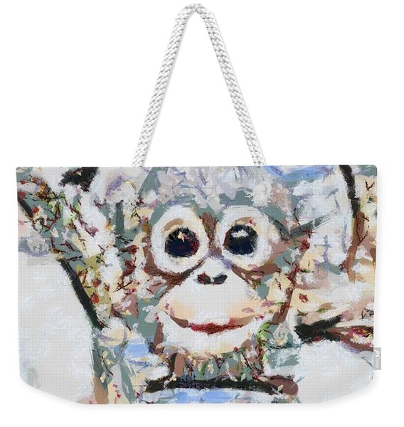 Monkey Rainbow Splattered Fragmented Blue Weekender Tote Bag