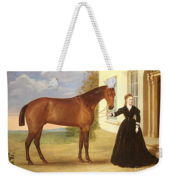 Portrait Of A Lady With Her Horse Weekender Tote Bag