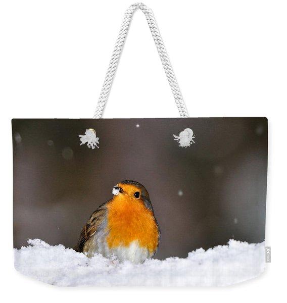 Robin In The Snow Weekender Tote Bag