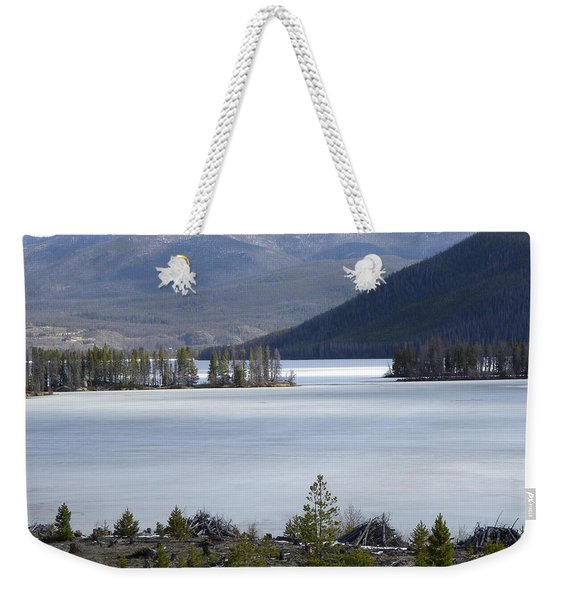 Weekender Tote Bag featuring the photograph Granby Lake Rmnp by Margarethe Binkley