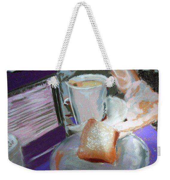 040517 Beni Gets And Coffee Weekender Tote Bag