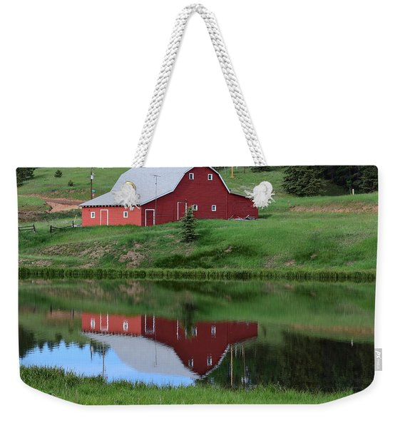 Weekender Tote Bag featuring the photograph Red Barn Burgess Res Divide Co by Margarethe Binkley