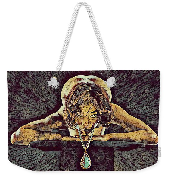 0756s-zac Nude Woman With Amulet On Tall Pedestal  Weekender Tote Bag