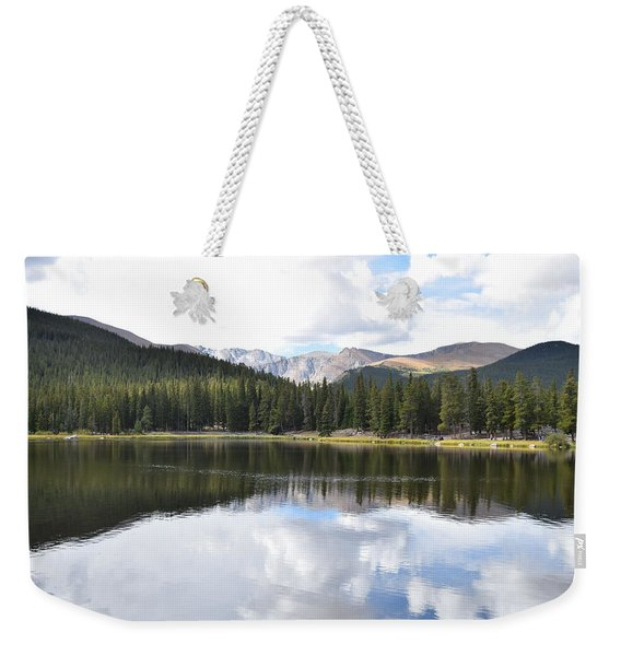 Weekender Tote Bag featuring the photograph Echo Lake Reflection Mnt Evans Co by Margarethe Binkley