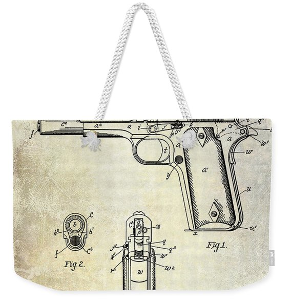 1911 Colt 45 Firearm Patent Weekender Tote Bag