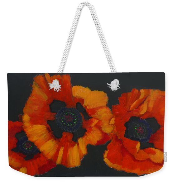 Weekender Tote Bag featuring the painting 3 Poppies by Richard Le Page