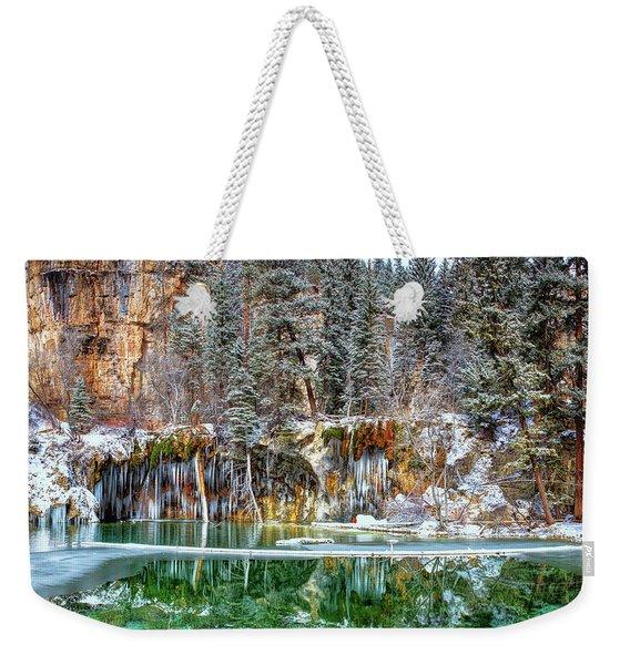 Olena Art Serene Chill Hanging Lake Photograph The Gem Of Glenwood Canyon Colorado Weekender Tote Bag