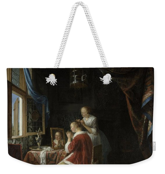 A Young Woman At Her Toilet Weekender Tote Bag