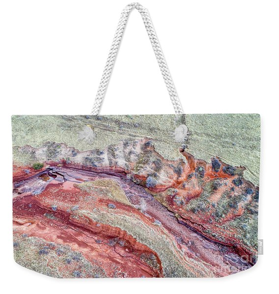 aerial landscape abstract of Colorado foothills Weekender Tote Bag