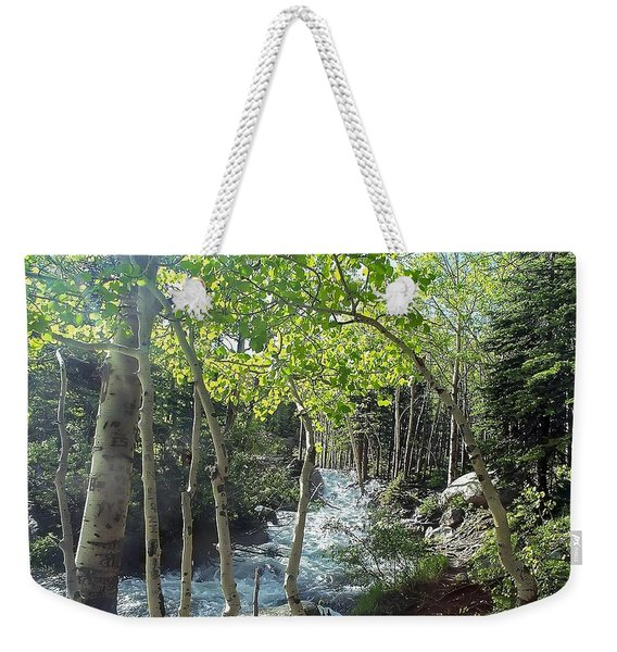 Along Alberta Falls Trail Rocky Mountain National Park Weekender Tote Bag