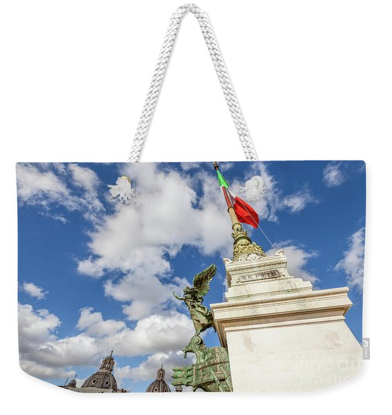 Weekender Tote Bag featuring the photograph Altare Della Patria Roma by Benny Marty