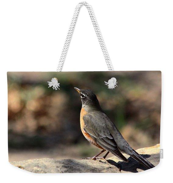 American Robin On Rock Weekender Tote Bag