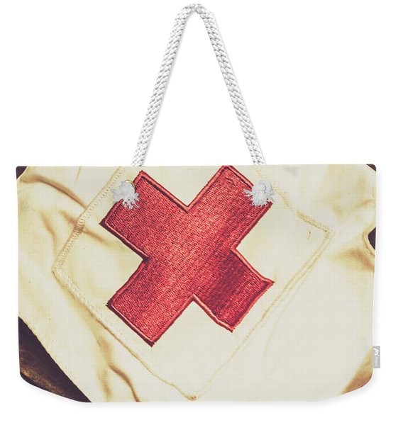Antique Nurses Hat With Red Cross Emblem Weekender Tote Bag
