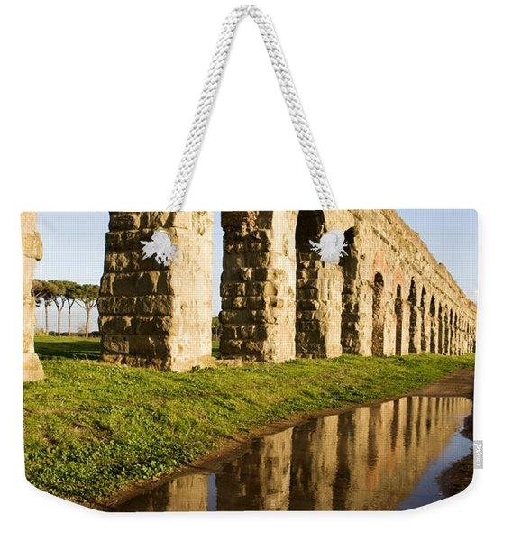 Aqua Claudia Aqueduct Weekender Tote Bag