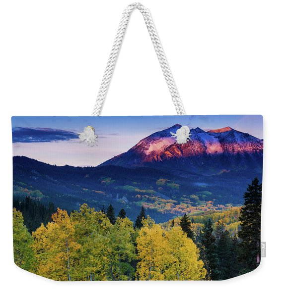 Weekender Tote Bag featuring the photograph Autumn Alpenglow by John De Bord
