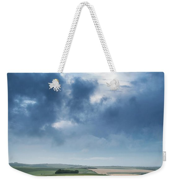 Beautiful Landscape Image Of Vibrant Poppy Field At Sunrise In S Weekender Tote Bag