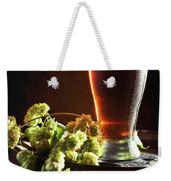 Beer And Hops On Barrel Weekender Tote Bag
