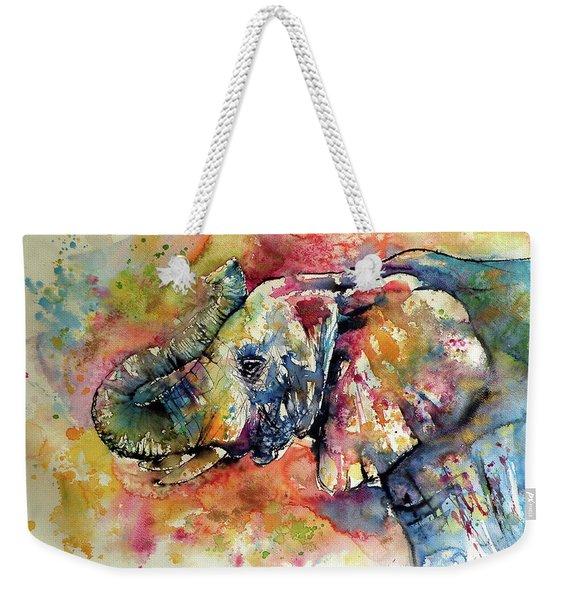 Big Colorful Elephant Weekender Tote Bag