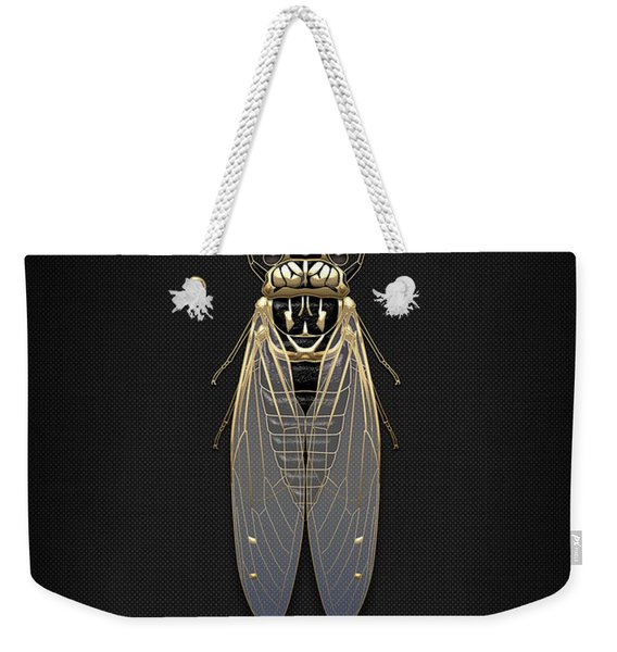 Black Cicada With Gold Accents On Black Canvas Weekender Tote Bag