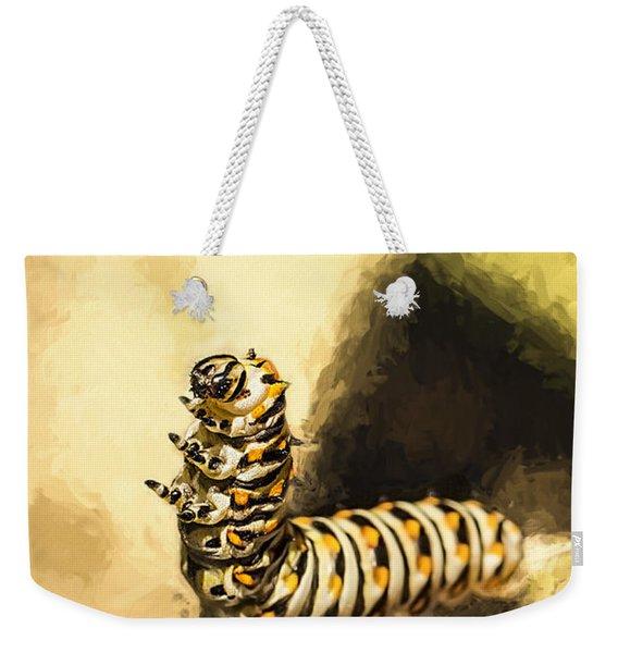 Dancing Black Swallowtail Butterfly Caterpillar  Weekender Tote Bag