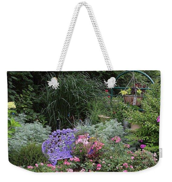Blue Garden Bench Weekender Tote Bag