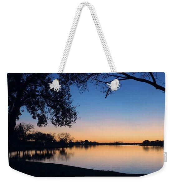 Blue Gold Sunset Weekender Tote Bag