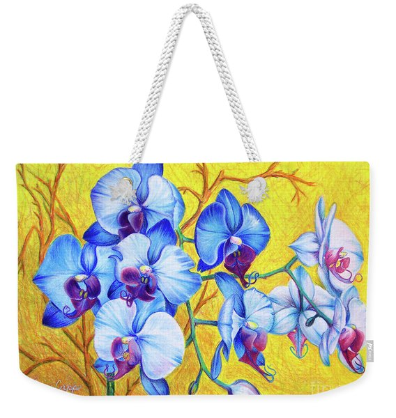 Weekender Tote Bag featuring the painting Blue Orchids #2 by Nancy Cupp
