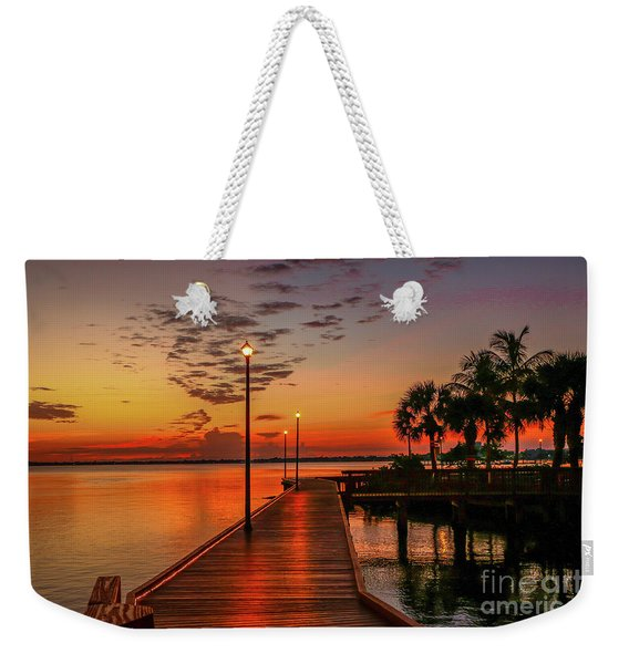 Weekender Tote Bag featuring the photograph Boardwalk Sunrise by Tom Claud