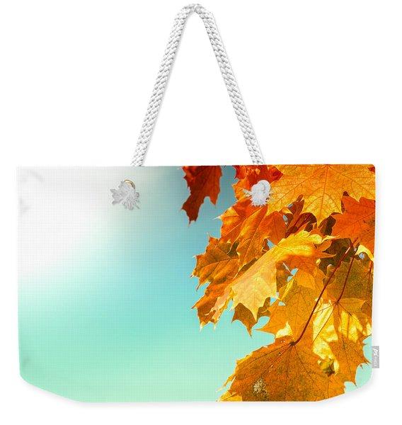 Yellow Autumn White Sun Weekender Tote Bag