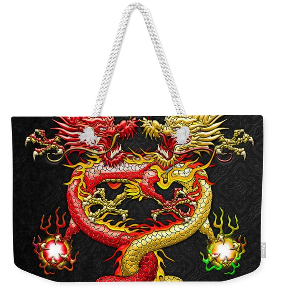 Brotherhood Of The Snake - The Red And The Yellow Dragons Weekender Tote Bag