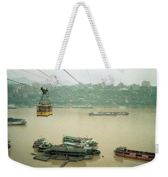 Cable Car Over Yangzi River In Chongqing China Weekender Tote Bag