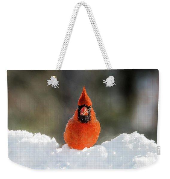 Cardinal In Snow Weekender Tote Bag