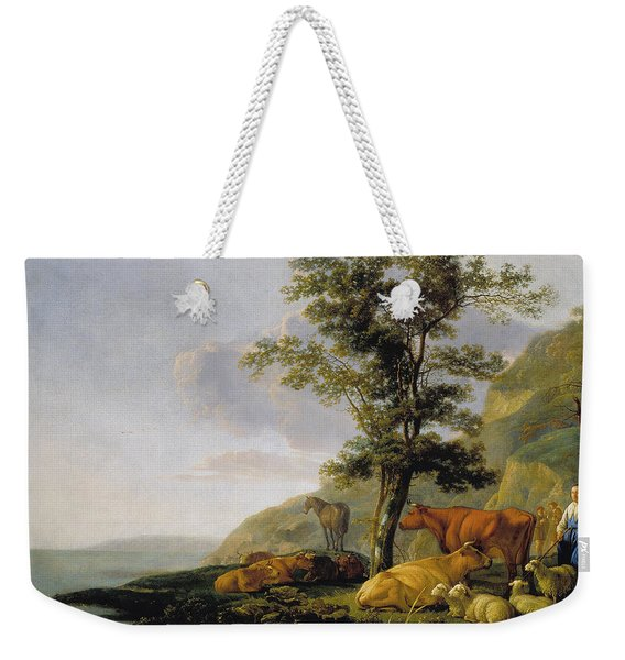 Cattle Near A River Weekender Tote Bag