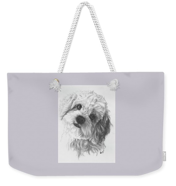 Weekender Tote Bag featuring the drawing Cava-chon by Barbara Keith