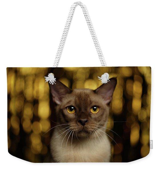 Closeup Portrait Burmese Cat On Happy New Year Background Weekender Tote Bag
