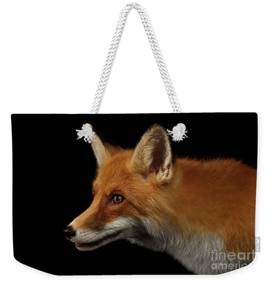 Closeup Portrait Of Red Fox In Profile Isolated On Black  Weekender Tote Bag
