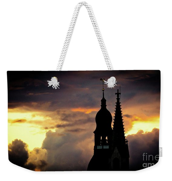 Cloudscape Of Orange Sunset Old Town Riga Latvia Weekender Tote Bag