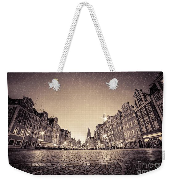 Cobblestone Historic Old Town In Rain At Night Wroclaw Weekender Tote Bag