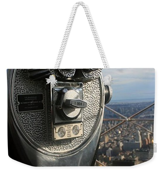 Weekender Tote Bag featuring the photograph Coin Operated Viewer by Debbie Cundy