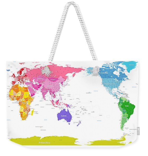 Continents World Map Weekender Tote Bag